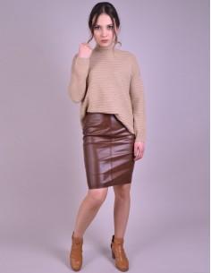 Bordo Leather Mini Skirt - W2089K