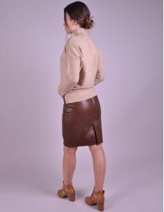 Pink Leather Mini Skirt - W2089I
