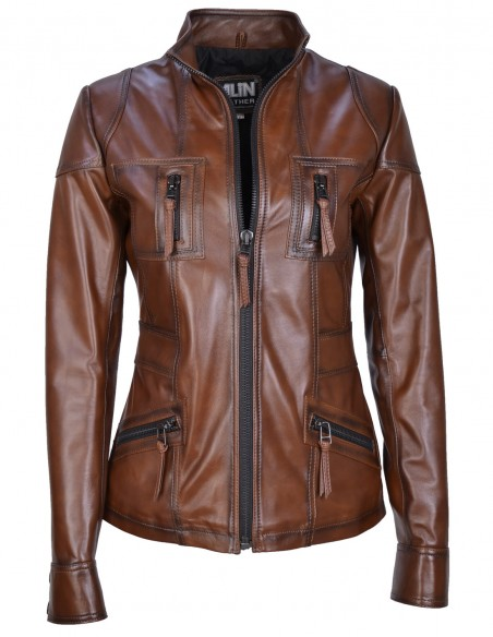 Melody Shade Brown Fitted Leather Jacket
