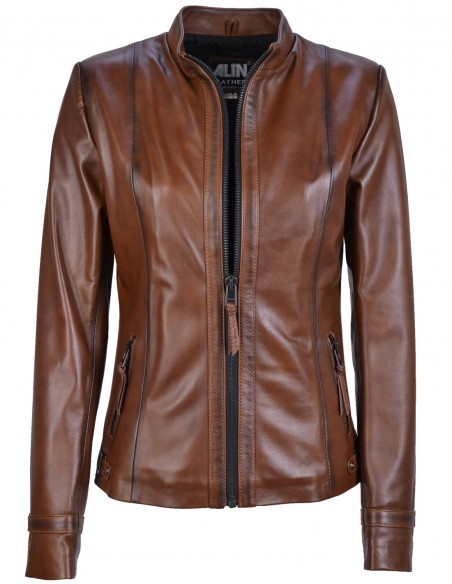 Kibyra Shade Brown Womens Leather Jacket