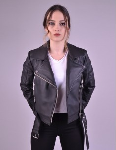 Black Leather Fitted Dress - W2077A